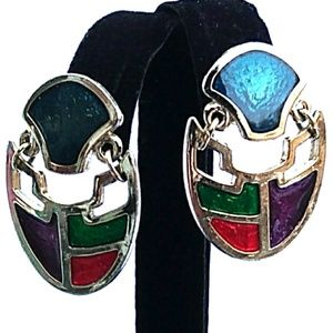 Vintage Enameled Articulated Abstract Earrings